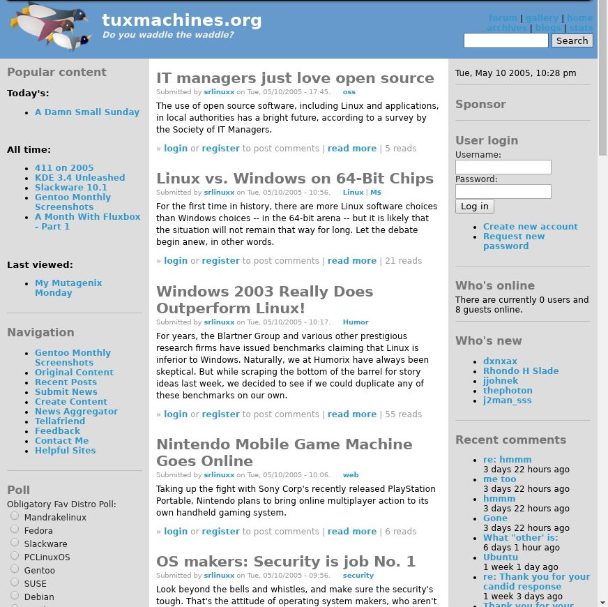 Tux Machines site in 2005