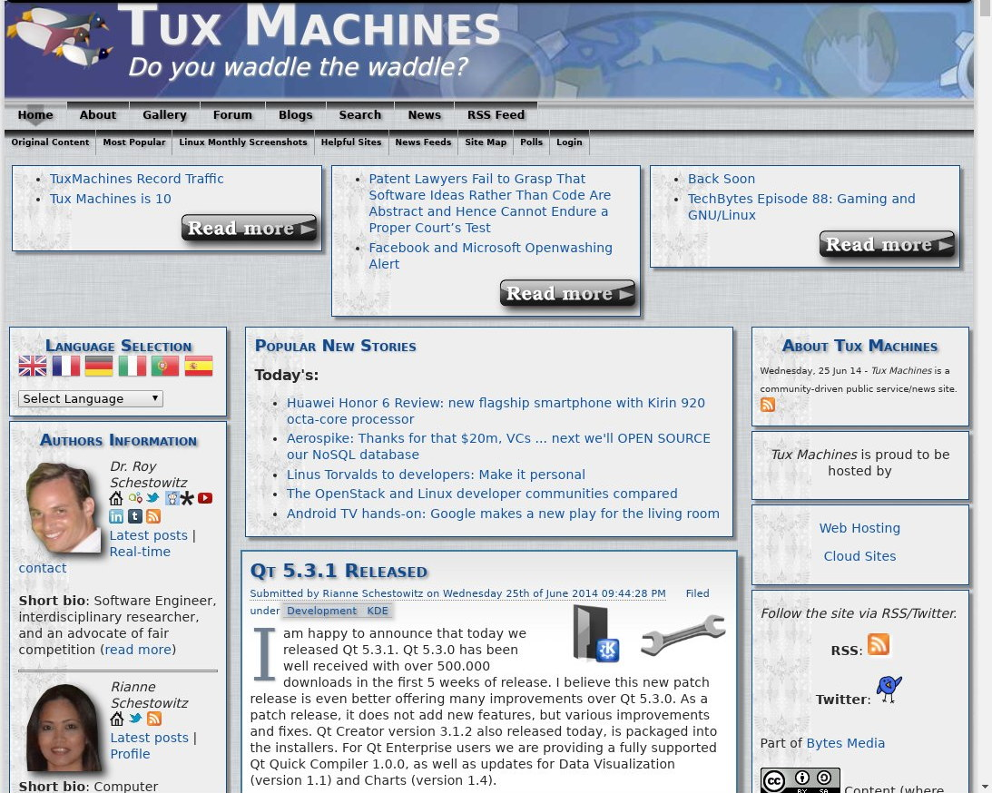 Tux Machines site in 2014