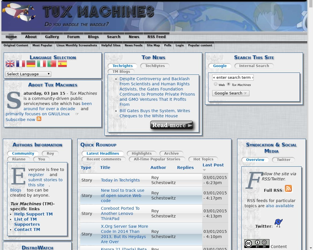 Tux Machines site in 2015