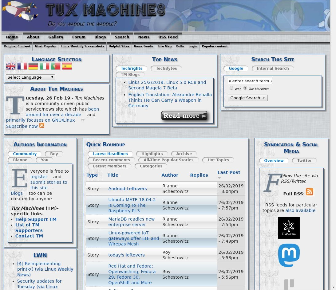 Tux Machines site in 2019