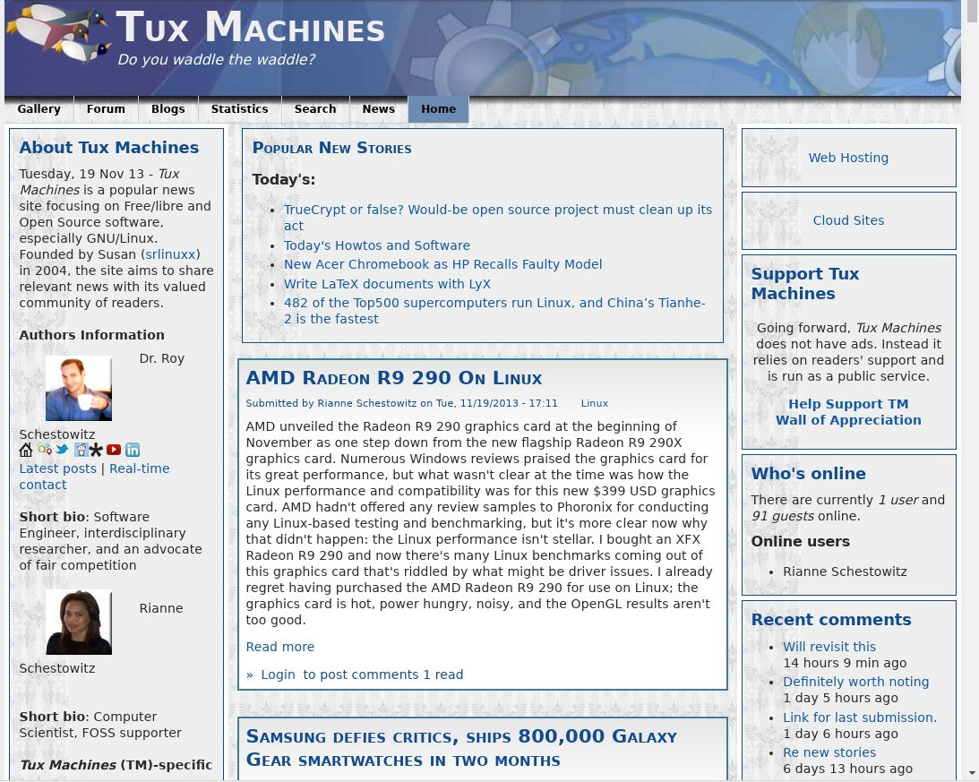 Tux Machines site in late 2013