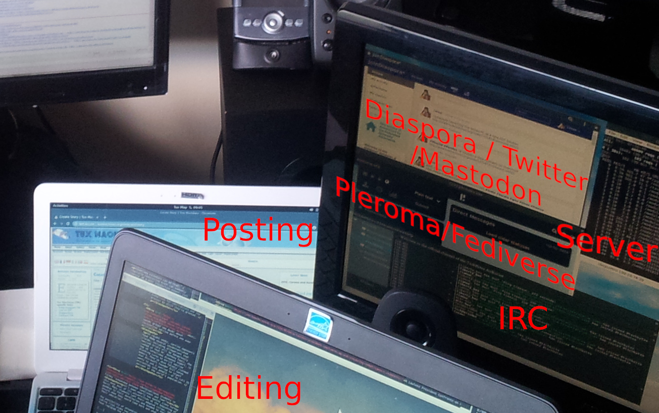 Roy's deskop and laptop with text